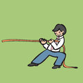Tug of war businessman holding rope for Royalty Free Stock Image