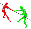 The tug war between green and red figures Stock Photos