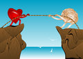 Tug of war heart and brain pull the rope on top the rock Royalty Free Stock Image