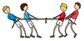 Tug of war kids illustration playing Royalty Free Stock Images