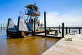 Tugboat docked along the shoreline in mississippi Royalty Free Stock Images