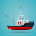 Tugboat. Fisherman ship. Cartoon style. Funny picture. Vector Image. Royalty Free Stock Photo