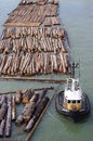 Tugboat and lumber Royalty Free Stock Photo