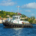 Tugboat sailing in the bay of Havana Stock Photo
