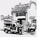 Tuk tuk driver eating at the door of a chinese temple in bangkok vector illustration Stock Photos