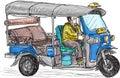 Tuk-tuk skech, Traditional motor tricycle for transportation