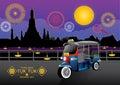 Tuk tuk vector illustration background sky thailand bangkok night season fireworks Royalty Free Stock Image