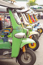 Tuk tuks parked in a row bangkok thailand october of neatly auto rickshaws thailand Stock Photography