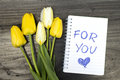 Tulip bouquet and notepad with words for you Royalty Free Stock Photo