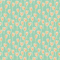 Tulip field seamless pattern repetitive on blue background illustration is in eps mode Royalty Free Stock Photography