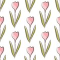 Tulip floral seamless pattern with colorful flowers shape on white background