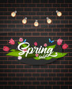 Tulip flower bouquet. Vector illustration. Spring sale text. Brick wall background. Royalty Free Stock Photo