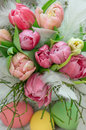 Tulip flowers with water drops and easter eggs fresh spring blossoms selective focus Royalty Free Stock Photo