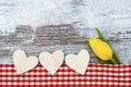 Tulip and heart on wood Stock Image