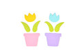 Tulip pots paper cut on white background