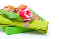Tulip with a serviette in a tray for breakfast isolated on white background Royalty Free Stock Photo