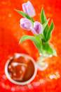 Tulip  Spring flowers with coffee cups Stock Image