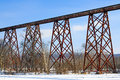 The tulip train trestle greene county indiana s viaduct seen here with winter snow is a foot m long railroad bridge and is longest Royalty Free Stock Photography
