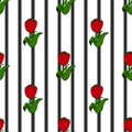 Tulips on the background of black stripes, seamless pattern