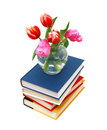 Tulips and books still life with huge bunch of spring isolated on white background Royalty Free Stock Photos