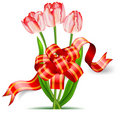 Tulips and bow Stock Image