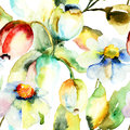 Tulips and chamomile flowers watercolor painting of Royalty Free Stock Photo