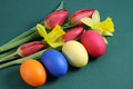 Tulips, daffodils and Easter eggs Royalty Free Stock Photos