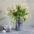 Tulips and Eggs Royalty Free Stock Photos