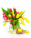 Tulips flowers with easter egg Stock Photos