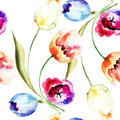 Tulips flowers seamless pattern with watercolor illustration Royalty Free Stock Photography