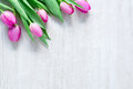 Tulips Flowers on wooden table for March 8, International Women Royalty Free Stock Photo