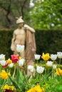 Tulipány pred antický socha na kúpele ostrov v