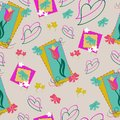 Tulips and hearts seamless pattern with primroses and bows. Floral spring background in pale tender colors, flat style .