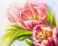 Tulips oil painting on canvas pink Royalty Free Stock Photo