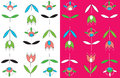 Tulips seamless pattern set simple design Royalty Free Stock Photos