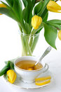 Tulips and tea Royalty Free Stock Photo
