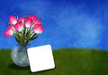 Tulips in a vase greetingcard Royalty Free Stock Photo
