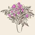 Tulips in vase. Sketch drawing in vintage style Royalty Free Stock Photo