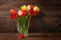 Tulips in vase with texture added closeup of Royalty Free Stock Images