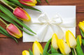 Tulips and white paper card Royalty Free Stock Photo
