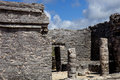 Tulum ancient maya city ruins of yucatan mexico Royalty Free Stock Photos