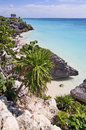 Tulum beach and clear blue water at mexico Stock Images