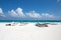 Tulum beach mexico boats on the of Royalty Free Stock Images