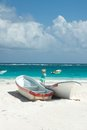 Tulum beach mexico boats on the of Royalty Free Stock Photo