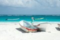 Tulum beach mexico boats on the of Royalty Free Stock Photos