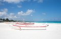 Tulum beach mexico the of with boats on the sand Stock Photos