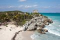 Tulum mexico may tourists visiting the mayan ruins of in a sunny day the ruins are situated along the east coast of Stock Image