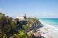 Tulum mexico may tourists visiting the mayan ruins of in a sunny day the ruins are situated along the east coast of Stock Photo