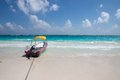 Tulum mexico motorboat on the beach Royalty Free Stock Photo