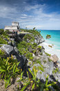 Tulum ruins and carribean sea vertical view of the ancient of the beautiful Royalty Free Stock Photos